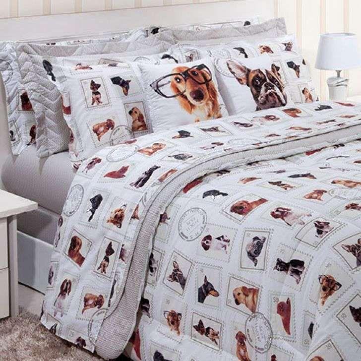 267782c618 E que tal um jogo de cama Queen Size com estampa de dogs  É muito amor ♥