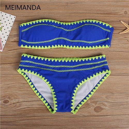 d74fb436bbe Meimanda 2017 new bathing suit women sexy crochet bikini set swimwear Plus  Size Beach Wear Cut Trikini Print Solid swim suit