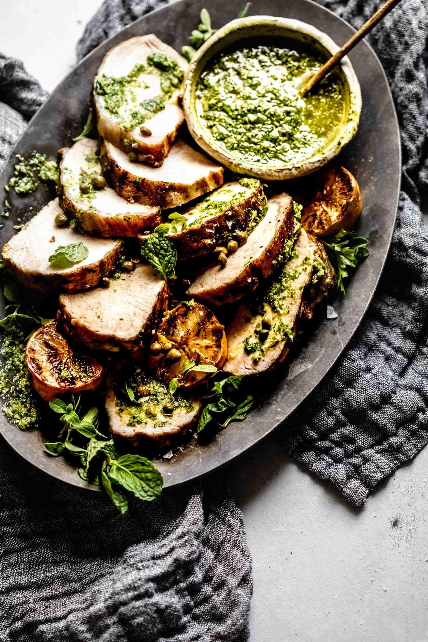 Grilled pork tenderloin with charred lemon chimichurri is