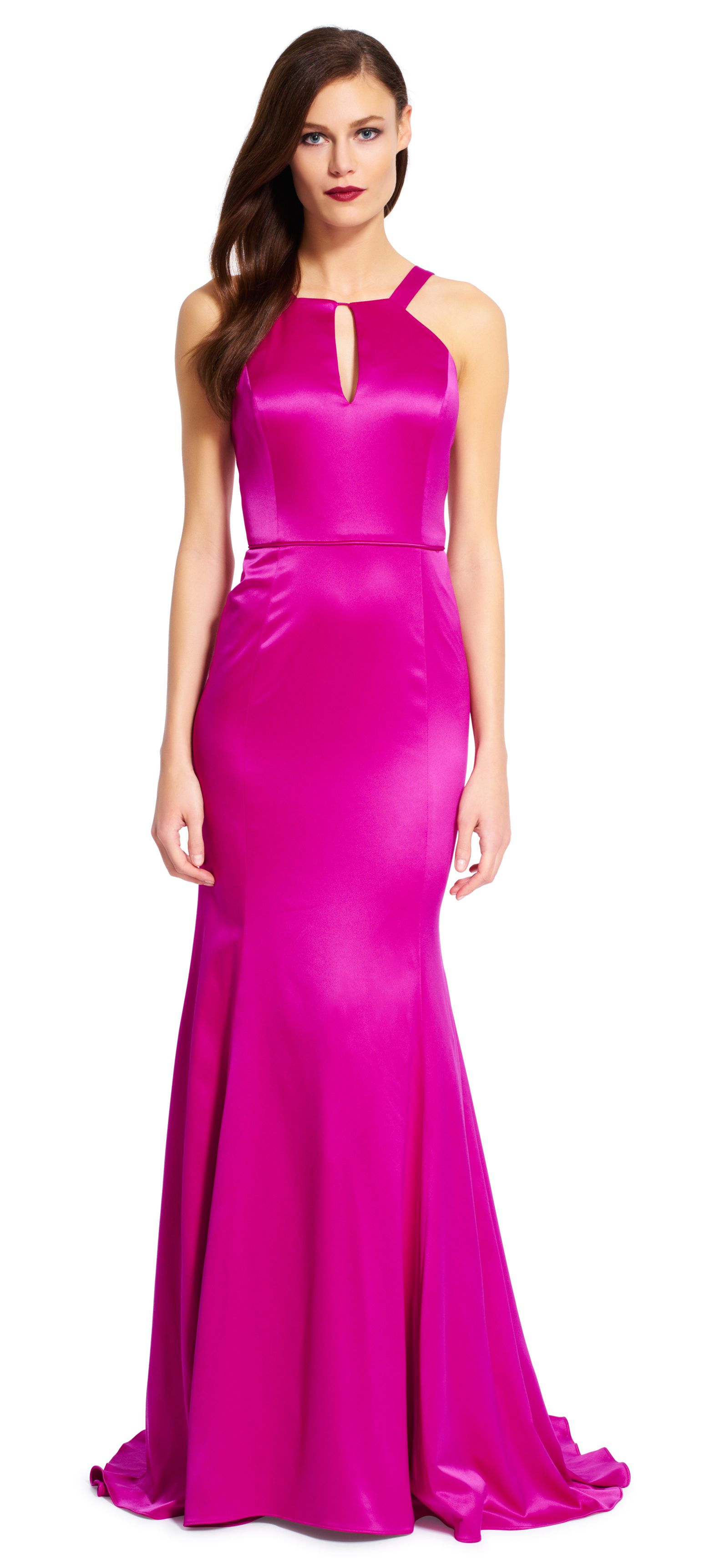 Crafted from luxe satin, this mermaid gown boasts a halter neckline ...