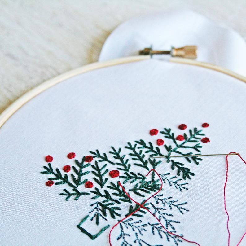 Christmas Embroidery Pattern Crewel Embroidery Diy Pattern Etsy In 2020 Christmas Embroidery Patterns Crewel Embroidery Kits Embroidery Kits