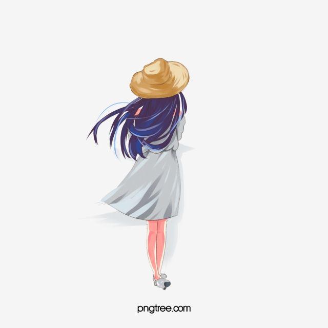 Blue Long Hair Girl Back View In 2020 Girls Cartoon Art Cartoon Art Cartoon Hair