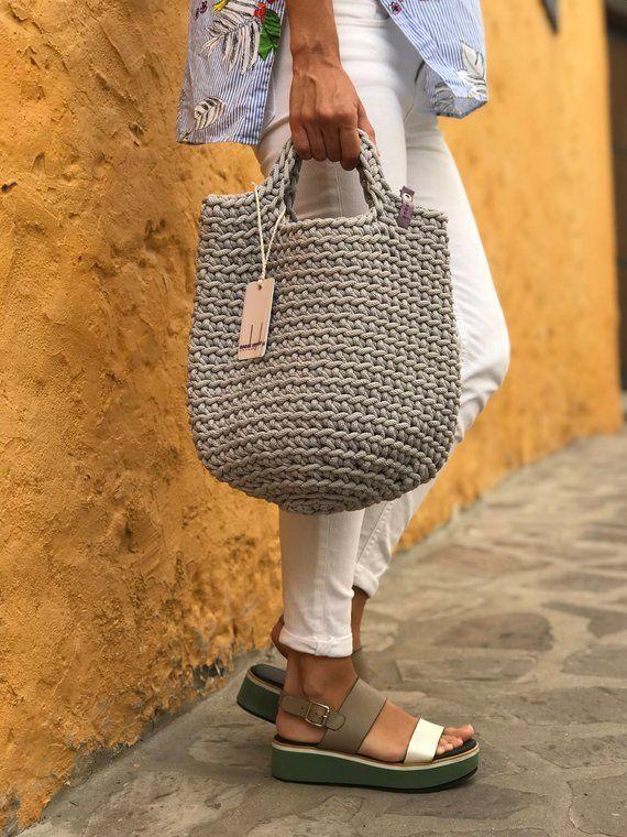 Tote Bag skandinavischen Stil häkeln Tasche handgemachte Tasche gestrickt Handtasche Geschenk für ihre OLIVE Farbe #tejidos