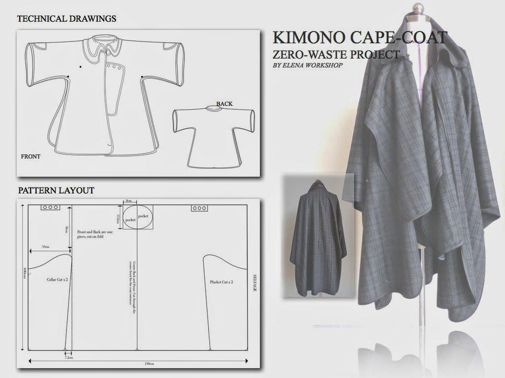 Zero Waste Kimono Cape Coat Have To Make One With Images Zero Waste Fashion Cape Coat Diy Waste Clothing