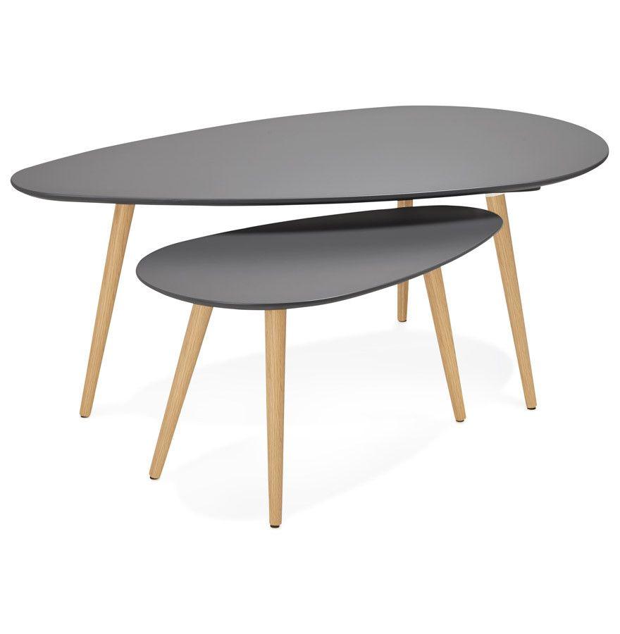 Dark Grey Modern Kokoon Gosmi 2 Piece Nest Table Ct00440dg