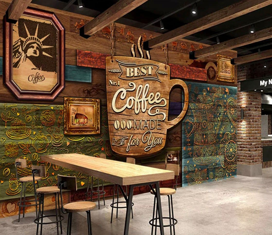 3d Coffee Poster High Grade Retro Coffee Shop Background Wall