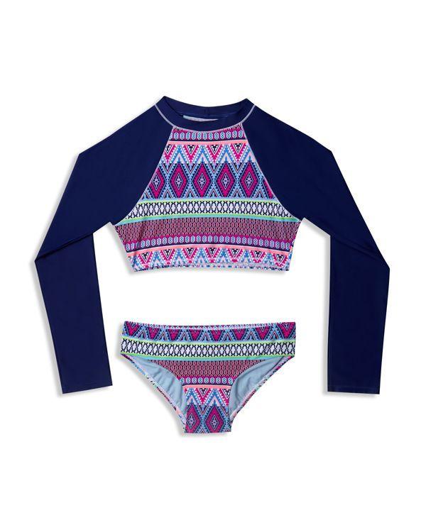 b9920dc0ec820 Gossip Girl Girls' Tribal Stripe Rashguard Two Piece Swimsuit - Sizes 7-16