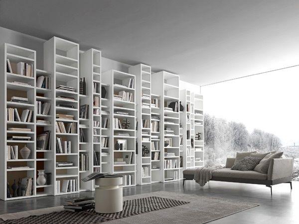 Presotto Italia - Libreria in laccato bianco Pari & Dispari 340 ...