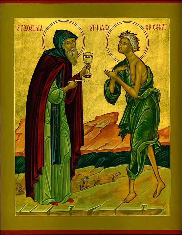 Saint Mary of Egypt (AD 530) lived in debauchery for 17 years, so The Lord didn't allow her to venerate the Cross. Praying to the Virgin, she was told she would find peace if she crossed the Jordan. She left immediately for the wilderness, eating plants, levitating while praying, and walking on water. When priest-monk Zosimus discovered her, he administered Communion. A year later, Zosimus discovered her dead on the very spot, with her name and the request to bury her written in sand.