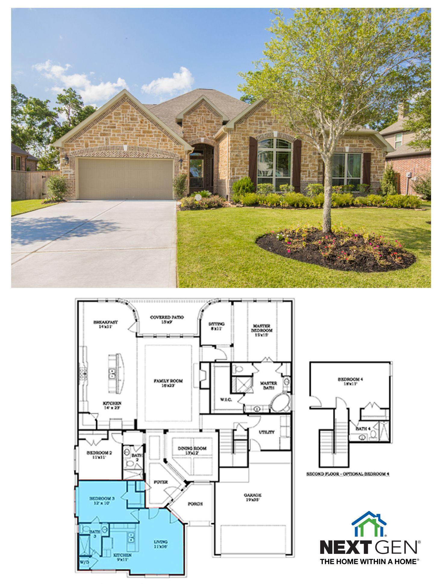 Next Gen Hadleigh Floor Plan In Oakhurst At Kingwood Porter Texas Http Villagebuilders Com Houston Home Asp Next Gen Homes House Blueprints In Law House