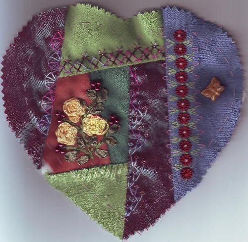 I ❤ crazy quilting & embroidery . . .  A heart for Margaret P. COH ~By Margreet from Holland