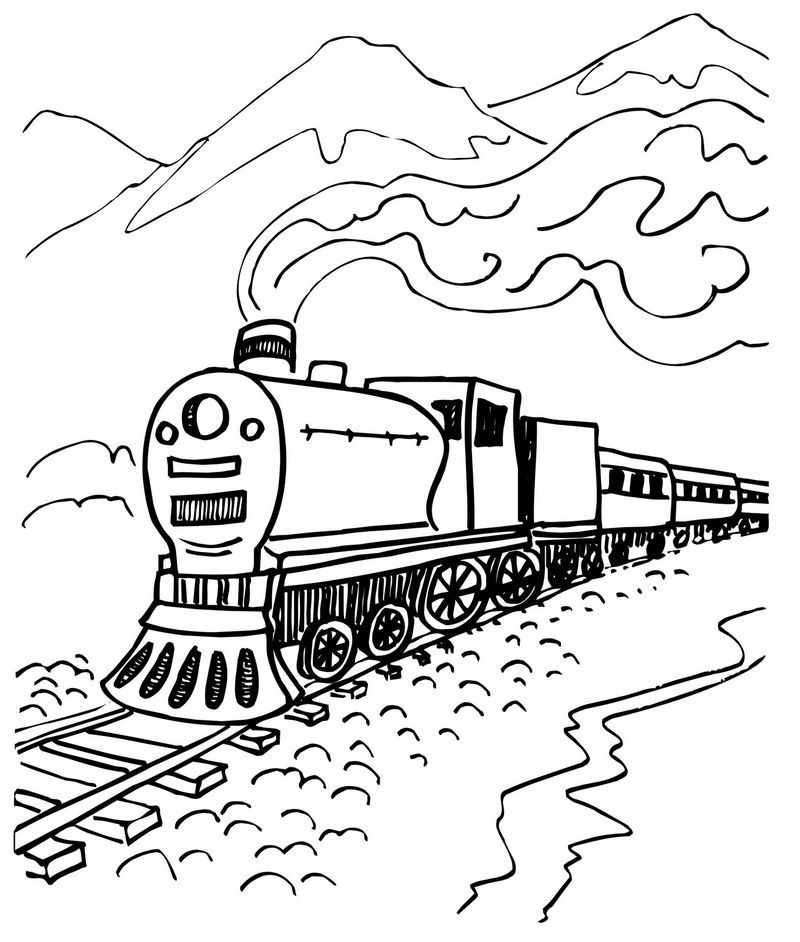 Steam Train Coloring Page With Mountain Scenery Di 2020