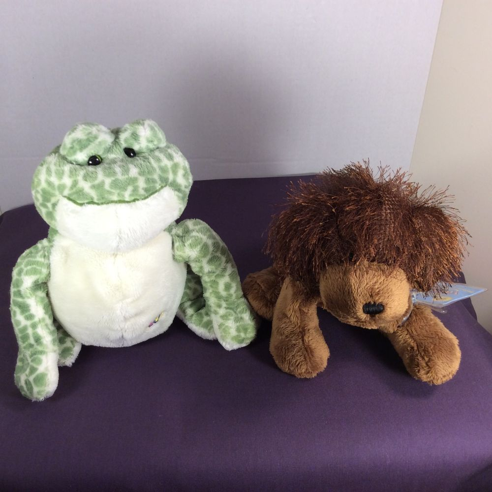 Two Ganz Webkinz Plush Stuffed Toys : Frog (w/o Code) & Brown Dog HM195 (w/Code) #GANZ