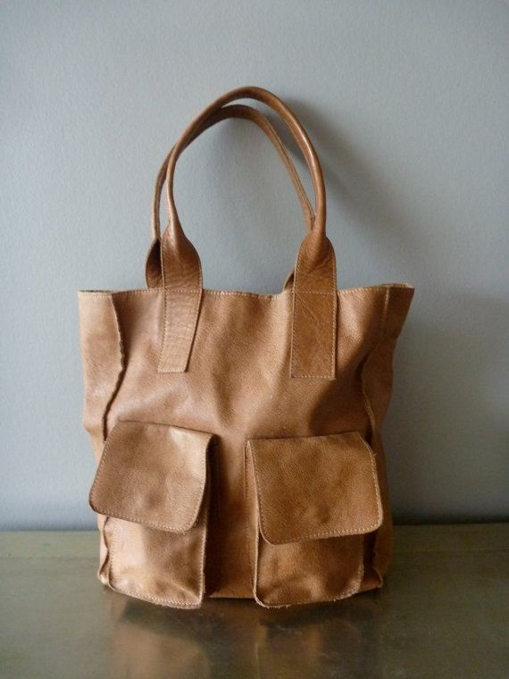 Reserved Brown Paper Lunch Bag tanned vintage leather artisanal large shoulder tote