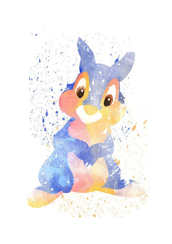 Bambi Thumper Disney print Disney fan art Watercolor by