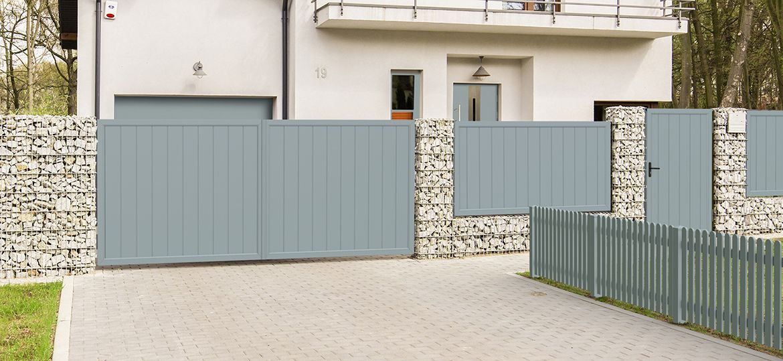 Privacy screen courtyard gate-door combination plastic – silver gray   …