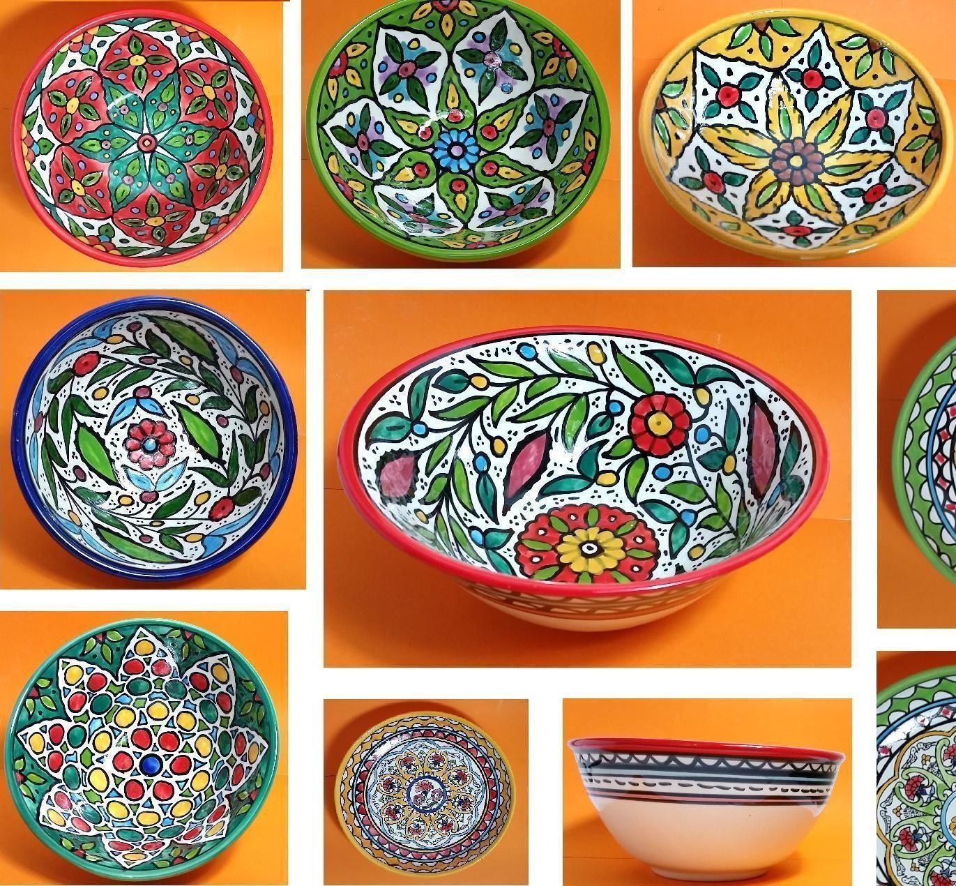 "Hand-Made 6"" To 10.5"" Ceramic Serving Bowl , For Salad , Fruit ,  Pasta"
