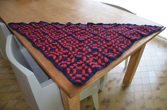 frambloos: granny square sjaal met patroon en uitleg