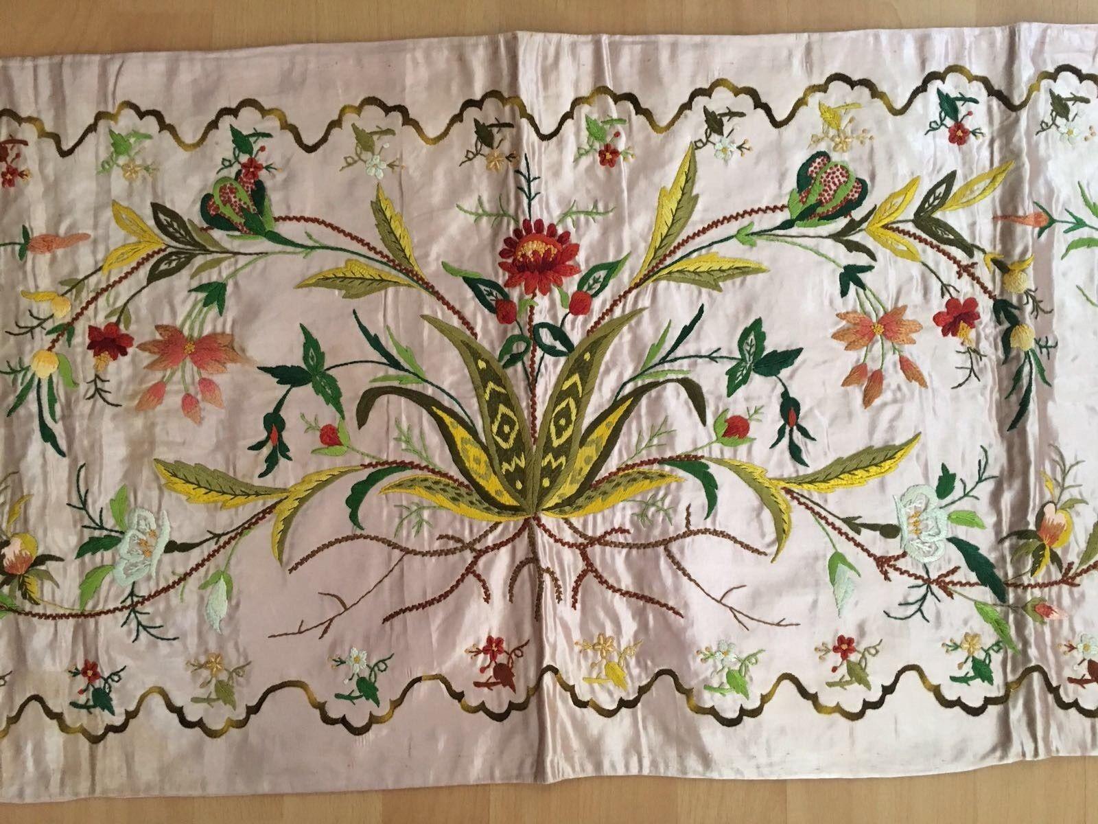 Antique armenian silk hand embroidery on silk pillow case ottoman