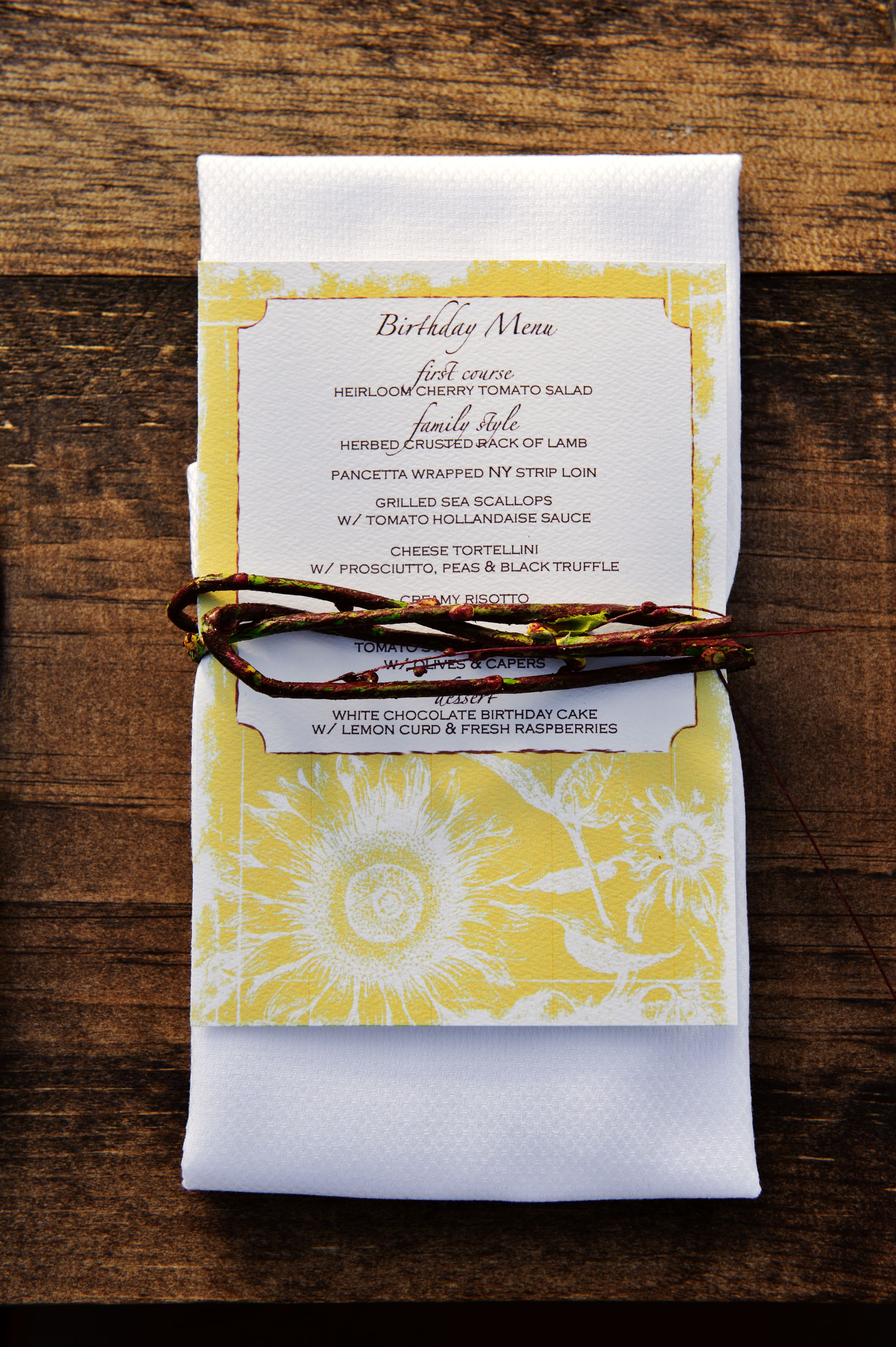 Birthday Menu Design and Planning by Simply Beautiful Events