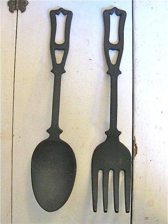 Giant Fork And Spoon Vintage Kitchen Decor Large With Images