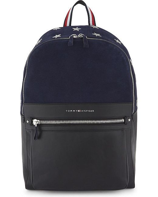1a83f77e1398 Men s Blue Icons Suede And Leather Backpack