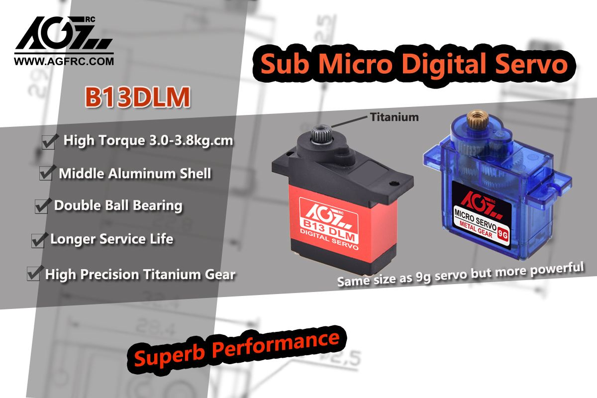 AGFrc superb performance micro servo B13DLM, same size as 9g micro