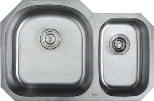 Kraus KBU24 32 inch Undermount 60/40 Double Bowl 16 gauge Stainless on