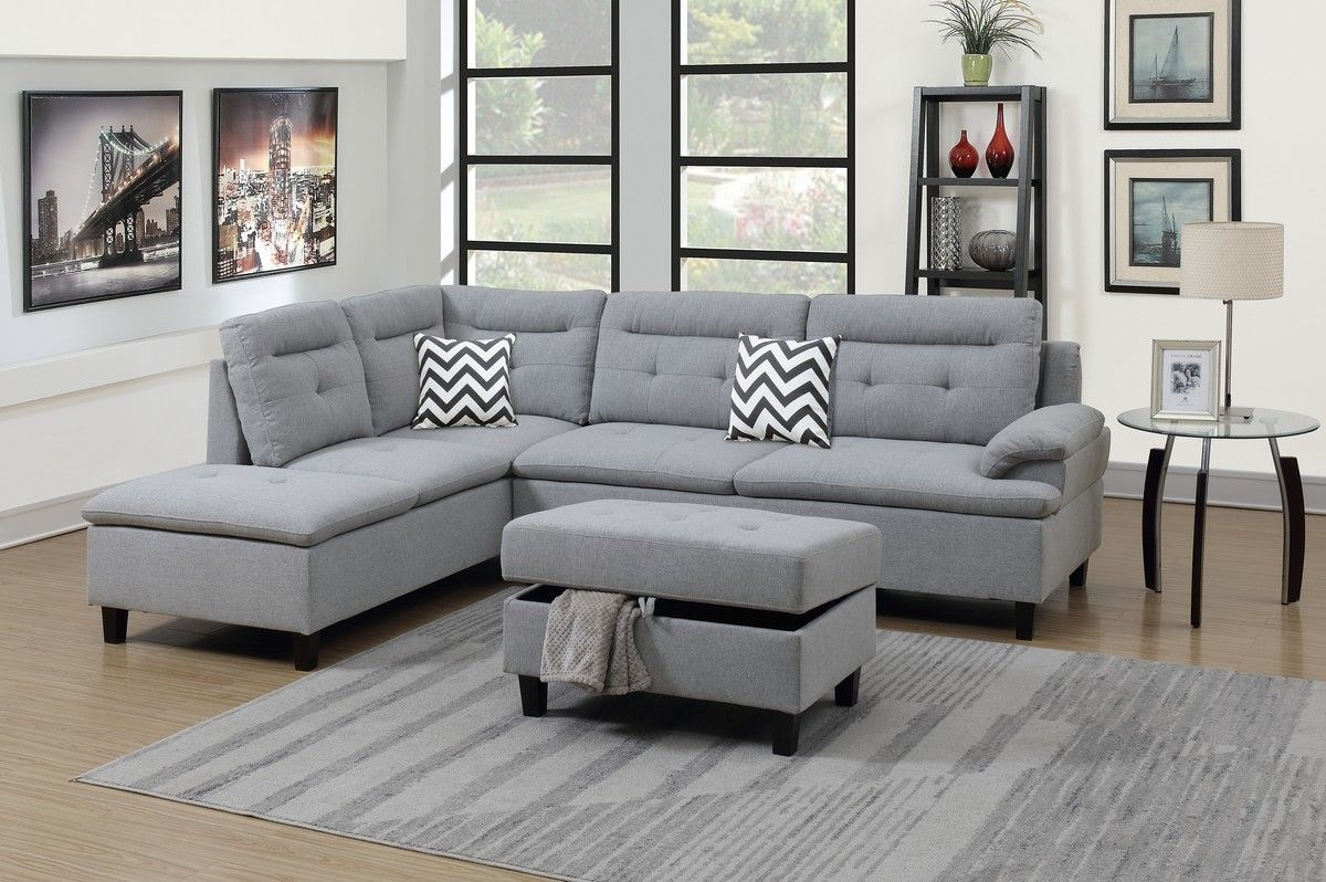 Updated Furniture 3pc Grey Sectional With Ottoman F6589 Savvy Discount Furniture Modern Sofa Sectional Modern Sectional Sectional Ottoman