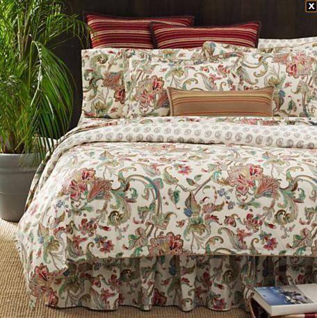 Ralph Lauren Antigua Paisley 7pc Queen Comforter Set Sheet Sham
