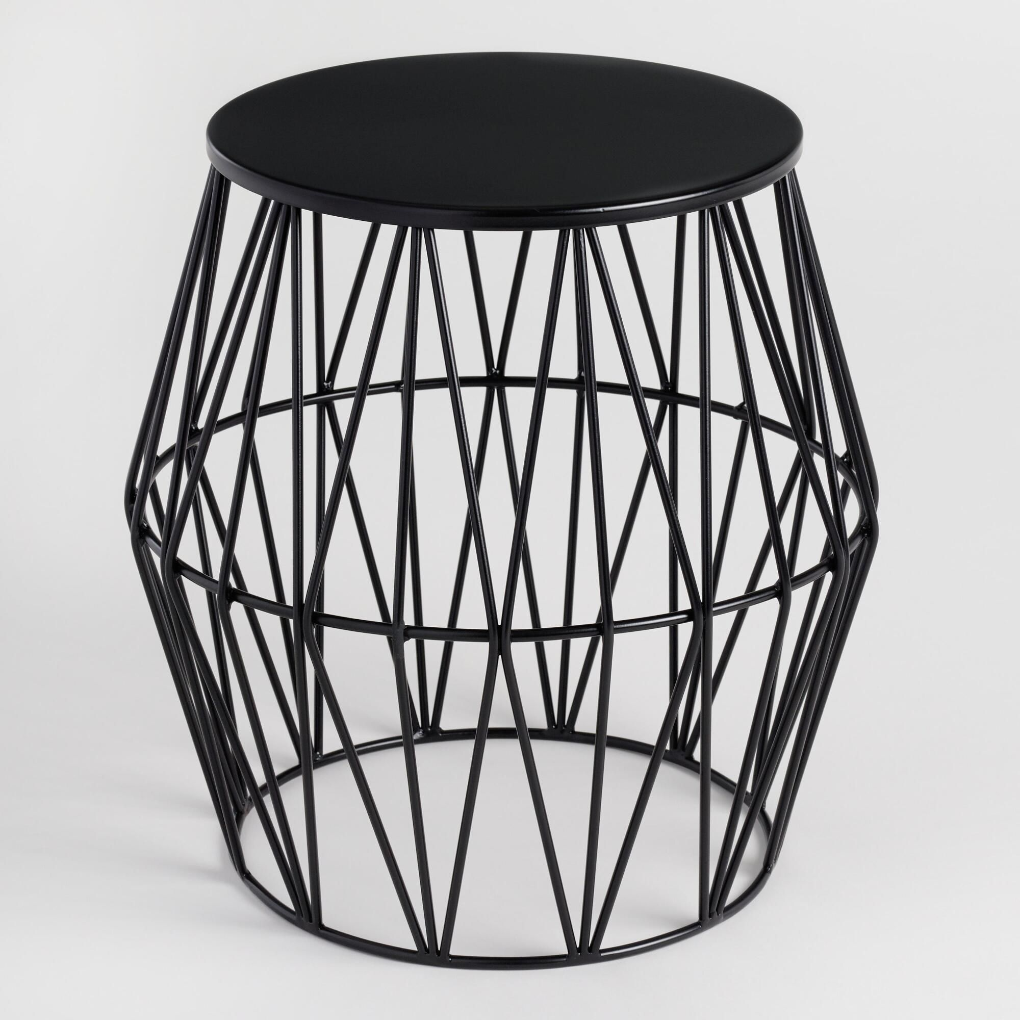 Swell Black Octavia Faceted Outdoor Patio Stool By World Market In Machost Co Dining Chair Design Ideas Machostcouk