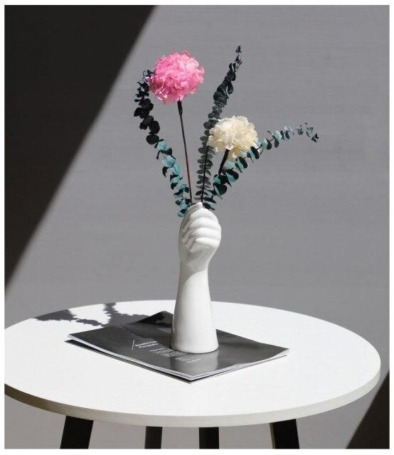 Photo of Nordic Vase Hand Vases White Arm Dried  Flowers Modern Home Decor Room Vintage Decoration Ceramic Scandinavian Style ваза вазы – with flowers3