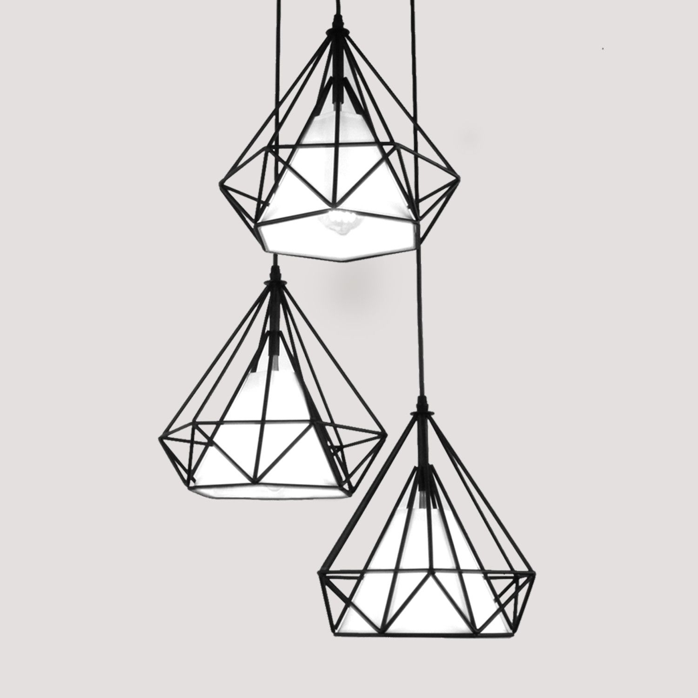 Antique Diamond Shape Black Metal Pendant Light With 3 Lights