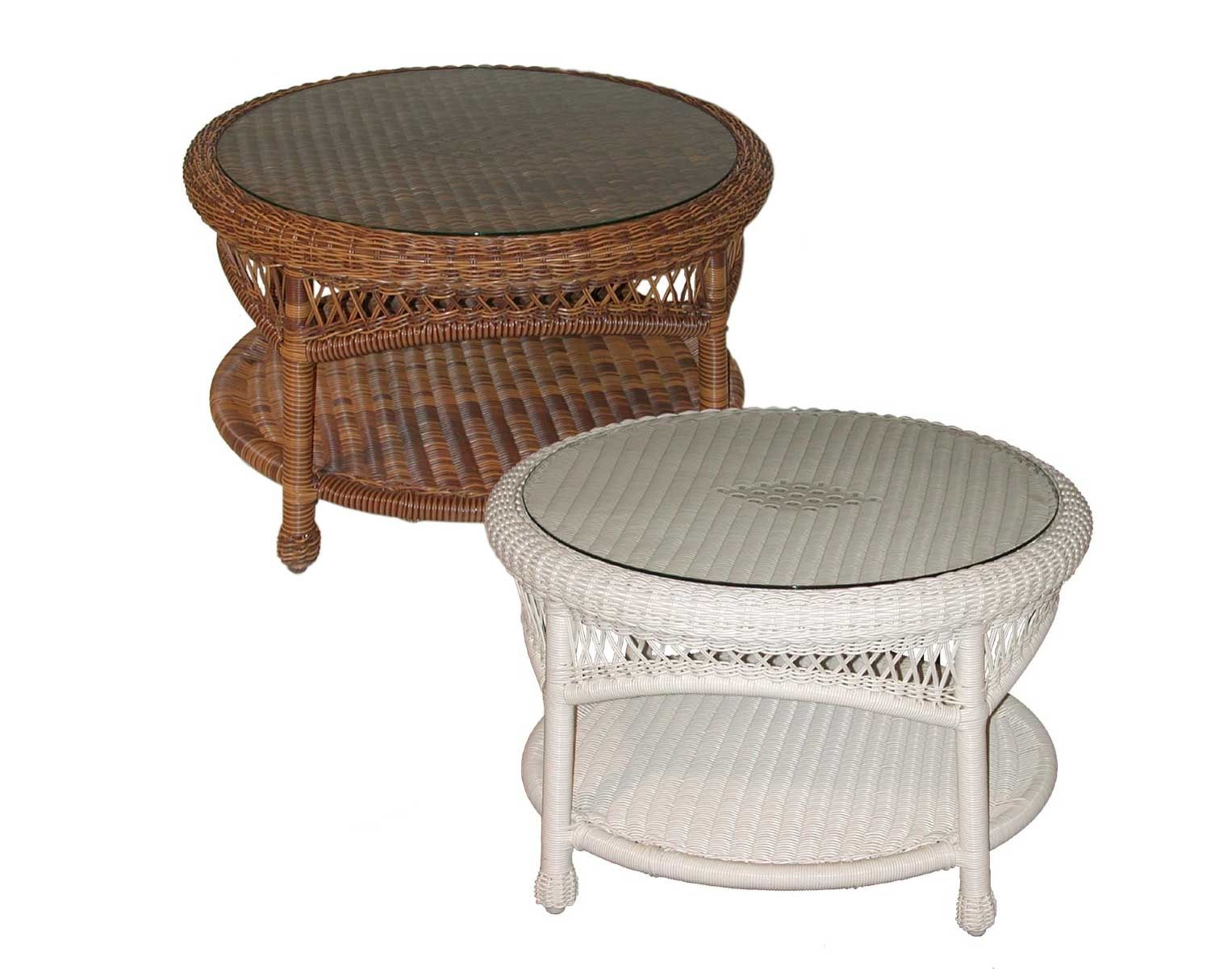 Round White Wicker End Table
