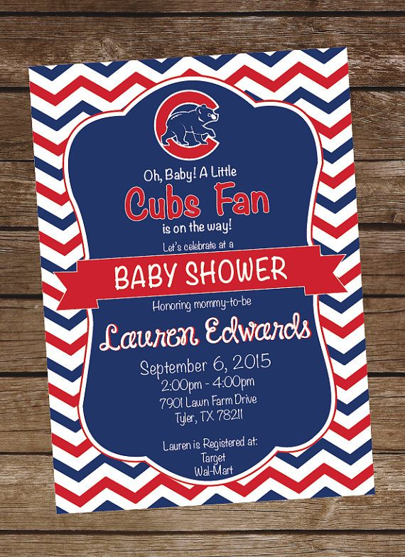chicago cubs baseball baby shower invitation cubs birthday party