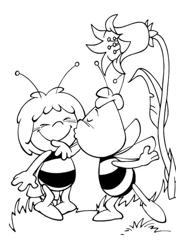 Maya The Bee Kissed His Cheeks Coloring Page Ausmalbilder Malvorlagen Malvorlagen Fur Madchen