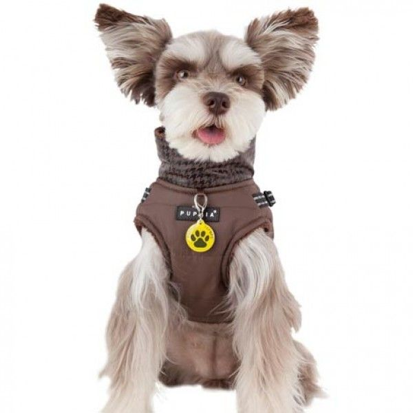 Puppia Winter Storm Dog Vest With Integrated Harness Brown Pet