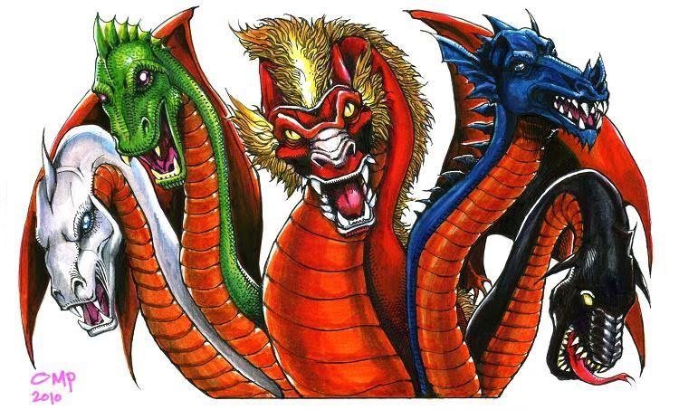 Tiamat Each Head Has A Cutesy Name L To R Katrina Highkick Kung Fu Candy Trixie Firecra Dungeons And Dragons Cartoon Dungeons And Dragons Cartoon Dragon
