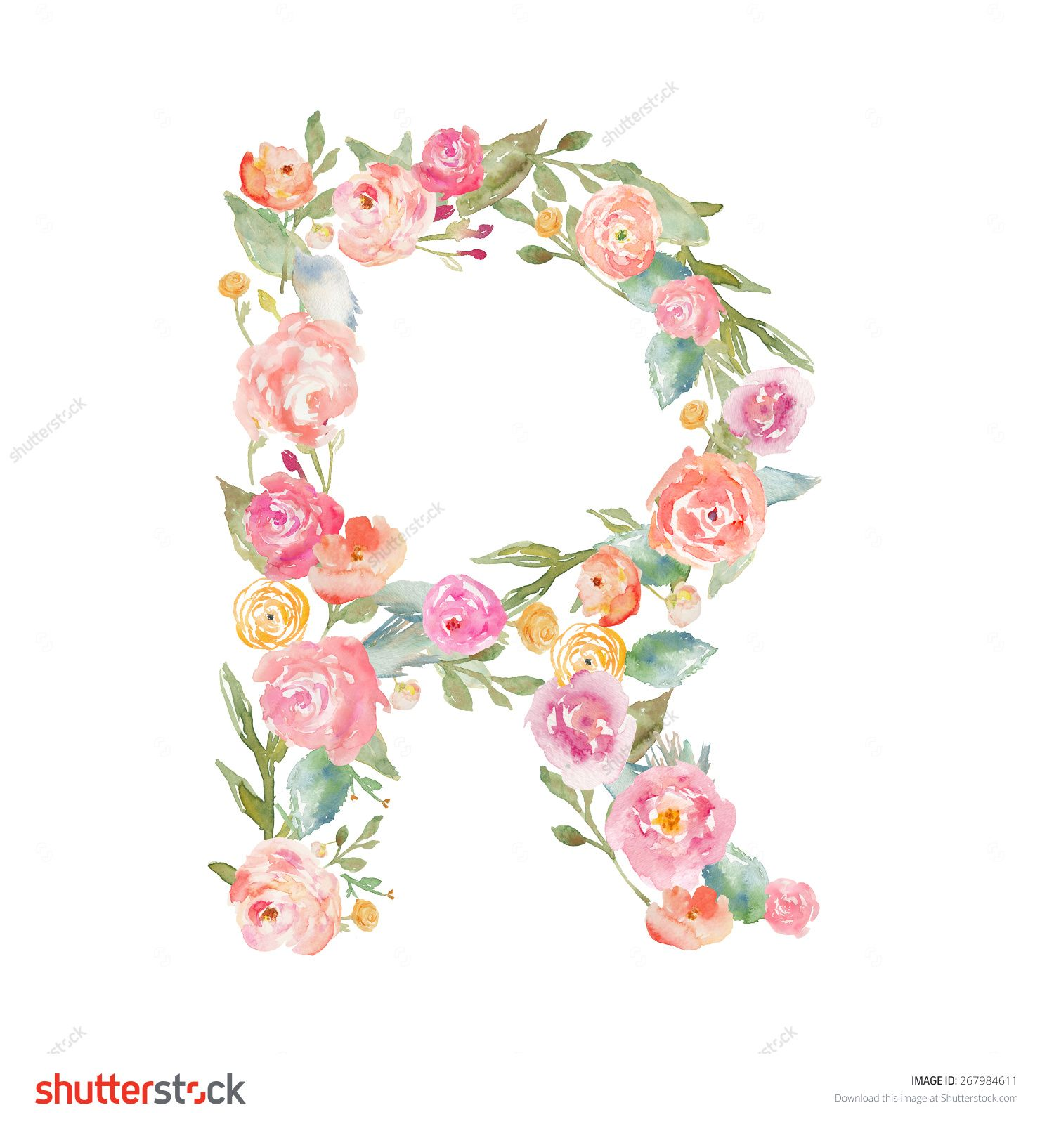 Watercolor Flower Alphabet Letter R. Monogram Letter R