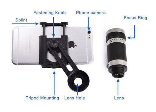 Tripod stand clip 8x 12x 18x telephoto mobile phone telescope lens