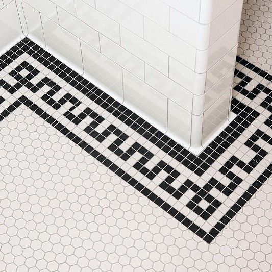 Kick Back And Relax With Subway Mosaics Marble In Greek Key Border Statuary White Making A Splash Next To Hex