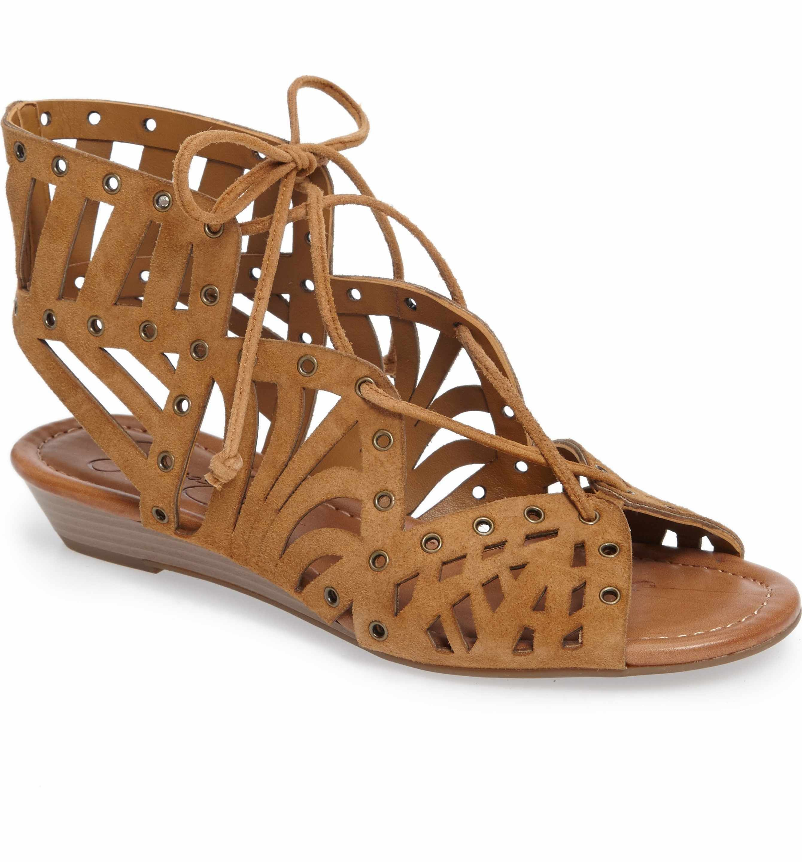7202304b5b9d21 8.5 honey brown suede Main Image - Jessica Simpson Lalaine Ghillie Lace  Sandal (Women)