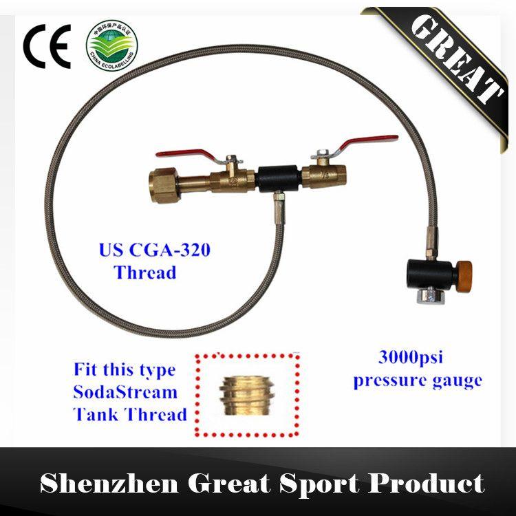 "36"" Soda Stream CO2 Tank Bottle Fill Refill Station Kobalt with US CGA-320 Thread"