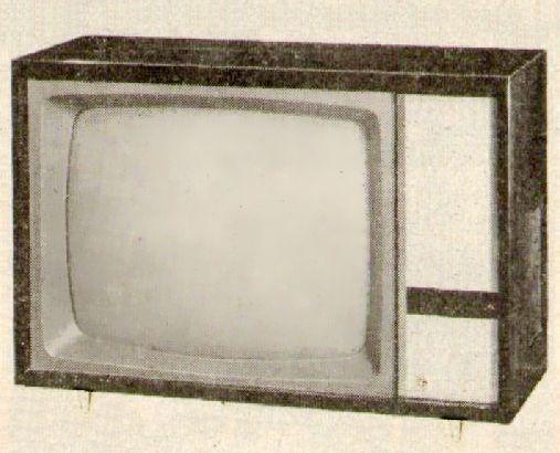 Télévision Pathé Marconi / La Voix de son Maître T1235u (1963). Pour le confort des yeux, une ampoule pouvait s'allumer à l'arrière, c'était bien pensé.