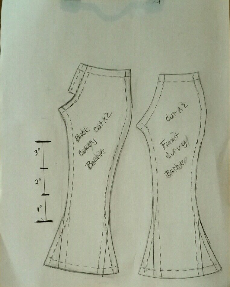 Curvy Barbie pants pattern I made. Please keep as a freebie. Enjoy ...