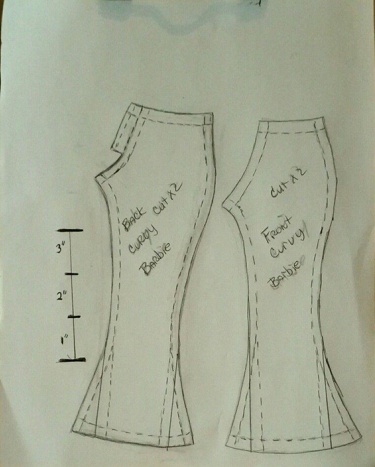 Curvy Barbie pants pattern I made. Please keep as a freebie. Enjoy ...