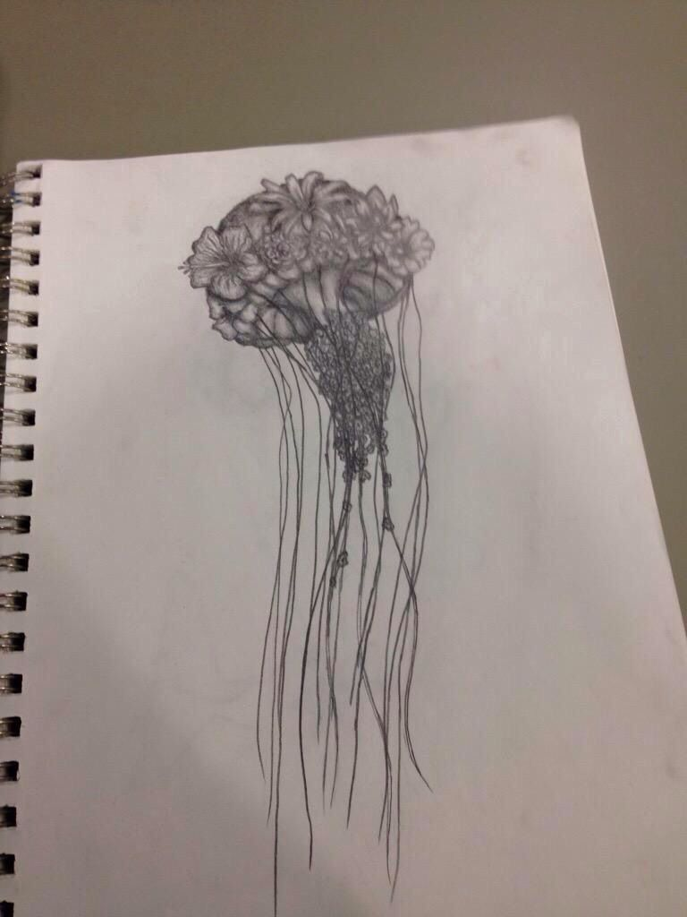 Abstract jellyfish flower pencil drawing