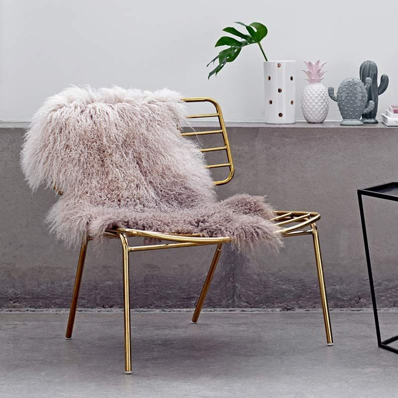 Gubi Sessel Beetle Bloomingville Lounge Stuhl Mesh Metall Gold Finish
