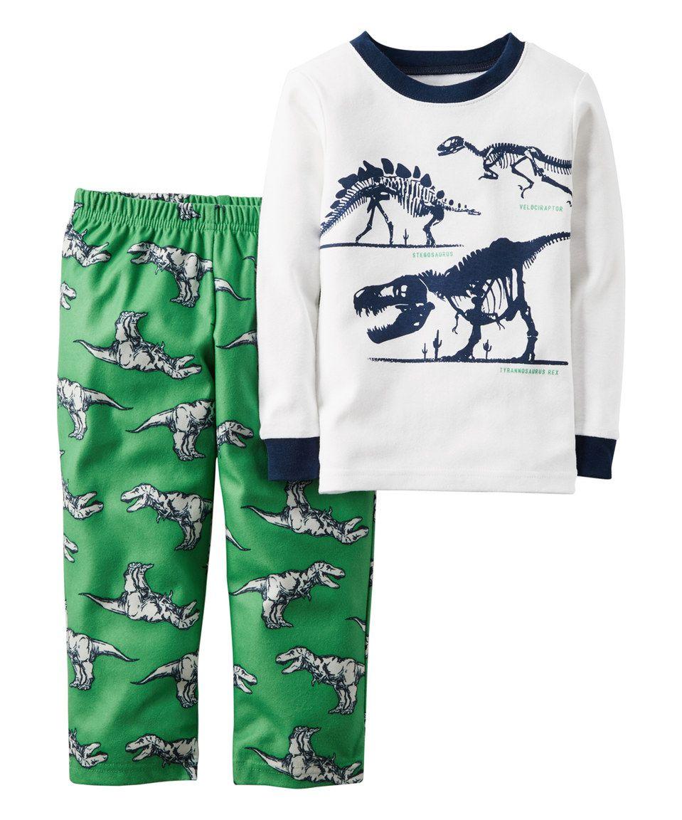 be491581b Loving this Carter s White   Green Dinosaur Pajama Set - Infant ...