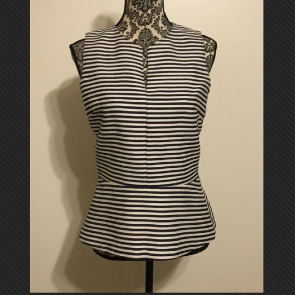 Striped fitted tank with peplum Beautifully made with side zipper Theory Tops Tank Tops